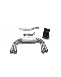 ARMYTRIX Stainless Steel Valvetronic Catback Exhaust System Quad Blue Coated Tips Volkswagen Golf R MK7.5 2016-2019