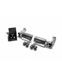 ARMYTRIX Stainless Steel Valvetronic Exhaust System Quad Chrome Silver Tips Porsche 997 Turbo 2007-2009