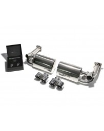 ARMYTRIX Stainless Steel Valvetronic Exhaust System Quad Titanium Blue Tips Porsche 997 Turbo 2007-2009