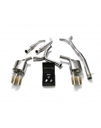 ARMYTRIX Stainless Steel Valvetronic Catback Exhaust System Quad Gold Tips BRABUS Mercedes C400 C450 C43 AMG W205 2015+