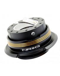 NRG Quick Release Kit - Strike Out Edition - Black / Black Ring / Chrome Gold Horizontal Stripes