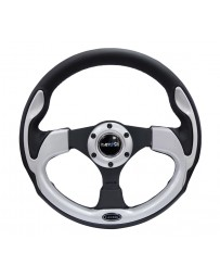 NRG Reinforced Steering Wheel (320mm) Blk with Silver Trim & 5mm 3-Spoke