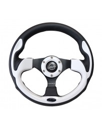 NRG Reinforced Steering Wheel (320mm) Blk with White Trim & 4mm 3-Spoke