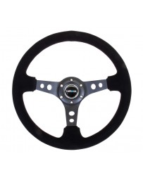 NRG Reinforced Steering Wheel (350mm / 3in. Deep) Blk Suede/Blk Stitch w/Black Circle Cutout Spokes