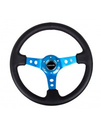 NRG Reinforced Steering Wheel (350mm / 3in. Deep) Blk Leather with Blue Circle Cutout Spokes