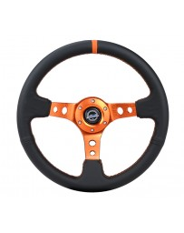 NRG Reinforce Steering Wheel (350mm / 3in. Deep) Blk Leather, Orange Center Mark with Orange Stitching