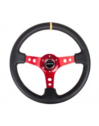 NRG Reinforced Steering Wheel (350mm / 3in. Deep) Blk Leather with Red Spokes & Sgl Yellow Center Mark
