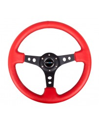 NRG Reinforced Steering Wheel (350mm / 3in. Deep) Red Leather/Blk Stitch with Blk Circle Cutout Spokes