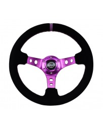 NRG Reinforced Steering Wheel (350mm / 3in. Deep) Black Suede w/Purple Center & Purple Stitching