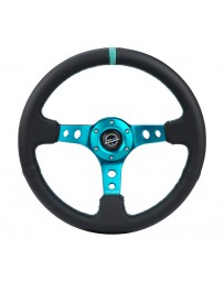 NRG Reinforce Steering Wheel (350mm / 3in. Deep) Blk Leather, Teal Center Mark w/ Teal Stitching