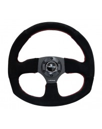 NRG Reinforced Steering Wheel (320mm Horizontal / 330mm Vertical) Suede w/Red Stitch