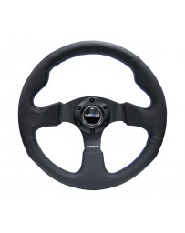 NRG Reinforced Steering Wheel (320mm) Black Leather with Blue Stitching