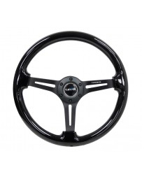 NRG Reinforced Steering Wheel (350mm / 3in. Deep) Blk Wood with Blk Matte Spoke/Black Center Mark