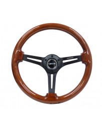 NRG Reinforced Steering Wheel (350mm / 3in. Deep) Brown Wood with Blk Matte Spoke/Black Center Mark
