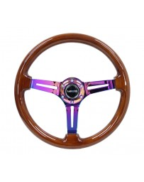 NRG Reinforced Steering Wheel (350mm / 3in. Deep) Brown Wood with Blk Matte Spoke/Neochrome Center Mark