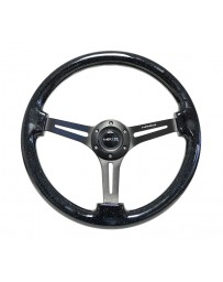 NRG Reinforced Steering Wheel (350mm / 3in. Deep) Black Multi Color Flake Wood with Black Matte Center