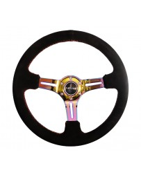 NRG Reinforced Steering Wheel (350mm / 3in. Deep) Blk Suede/Red Stitch with Neochrome Slits
