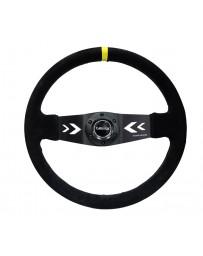 NRG Reinforced Steering Wheel (350mm / 3in. Deep) Blk Suede with NRG Arrow Cut 2-Spoke & Yellow Mark