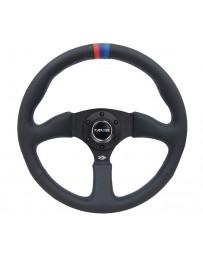 NRG Reinforced Steering Wheel (350mm / 2.5in Deep) Blk Leather with M3 stitch Matte Blk 3-Spoke Center