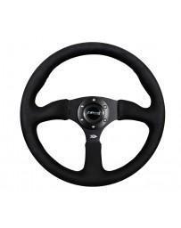 NRG Reinforced Steering Wheel (350mm / 2.5in. Deep)Blk Alcantara Comfort Grip with 4mm Matte Blk Spokes