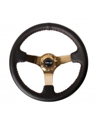 NRG Reinforced Steering Wheel (3in Deep / 4mm) 350mm Blk Leather with Red BBall Stitch & Gold Spoke