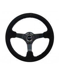 NRG Reinforced Steering Wheel (350mm / 3in. Deep) Blk Suede/Silver BBall Stitch with 5mm Mt. Blk Spokes
