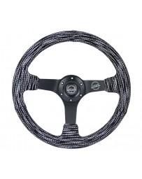 NRG Reinforced Steering Wheel (350mm / 3in. Deep) Microfiber/Black Stitch with 5mm Matte Black Spokes