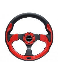 NRG Reinforced Steering Wheel (320mm) Blk with Red Trim & 5mm 3-Spoke