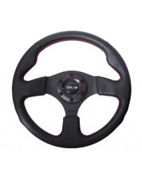 NRG Reinforced Steering Wheel (320mm) Leather with Red Stitch