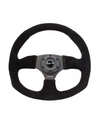 NRG Reinforced Steering Wheel (320mm Horizontal / 330mm Vertical) Black Suede with Black Stitching
