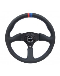 NRG Reinforced Steering Wheel (350mm / 2.5in Deep) Blk Leather with M3 stitch Matte Blk 3-Spoke Center