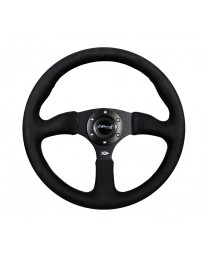NRG Reinforced Steering Wheel (350mm / 2.5in. Deep)Blk Alcantara Comfort Grip with 4mm Matte Blk Spokes
