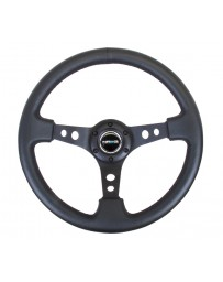 NRG Reinforced Steering Wheel (350mm / 3in. Deep) Blk Leather with Blk Spoke & Circle Cutouts