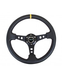 NRG Reinforced Steering Wheel (350mm / 3in. Deep) Blk Leather with Blk Cutout Spoke/Yellow Center Mark