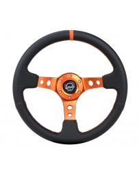 NRG Reinforce Steering Wheel (350mm / 3in. Deep) Blk Leather, Orange Center Mark with Orange Stitching