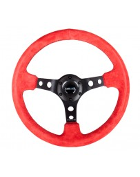 NRG Reinforced Steering Wheel (350mm / 3in. Deep) Red Suede w/Blk Circle Cutout Spokes