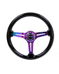 NRG Reinforced Steering Wheel (350mm / 3in. Deep) Blk Wood w/Blk Matte Spoke/Neochrome Center Mark