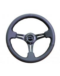 NRG Reinforced Steering Wheel (350mm / 3in. Deep) Black Leather w/ Black Stitching