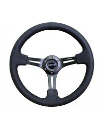 NRG Reinforced Steering Wheel (350mm / 3in. Deep) Black Leather w/ Alcantara Stitching
