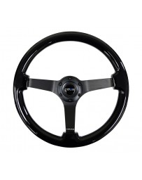NRG Reinforced Steering Wheel (350mm / 3in. Deep) Black w/Black Chrome Solid 3-Spoke Center
