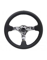NRG Reinforced Steering Wheel (350mm / 3in. Deep) Blk Leather w/Hydrodipped Digi-Camo Spokes