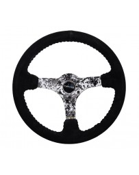 NRG Reinforced Steering Wheel (350mm / 3in. Deep) Blk Suede w/Hydrodipped Digi-Camo Spokes