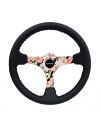 NRG Reinforced Steering Wheel (350mm / 3in. Deep) Blk Leather Floral Dipped w/ Blk Baseball Stitch