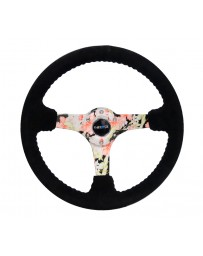 NRG Reinforced Steering Wheel (350mm / 3in. Deep) Blk Suede Floral Dipped w/ Blk Baseball Stitch