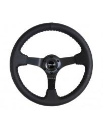 NRG Reinforced Steering Wheel (350mm / 3in. Deep) Bk Leather w/Bk BBall Stitch (Odi Bakchis Edition)