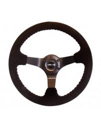 NRG Reinforced Steering Wheel (350mm / 3in. Deep) Blk Suede w/Red BBall Stitch & Black 3-Spoke