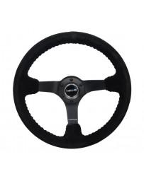 NRG Reinforced Steering Wheel (350mm / 3in. Deep) Blk Suede/Blk Bball Stitch w/5mm Matte Black Spoke