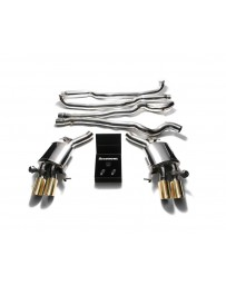 ARMYTRIX Stainless Steel Valvetronic Catback Exhaust System Quad Gold Tips BMW M6 F12 F13 2013-2019