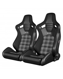 BRAUM ELITE-S SERIES RACING SEATS (BLACK & GREY PLAID) – PAIR