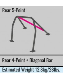 Toyota Yaris GR 20+ MK2 Cusco D1 Roll cage 5-Point, Rear, 2 Passenger with Diagonal Bar